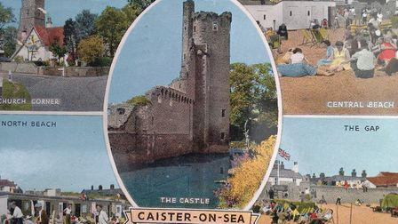 """A postcard sent in 1963 from Caister-on-Sea which says on the back: """"It is still raining."""""""