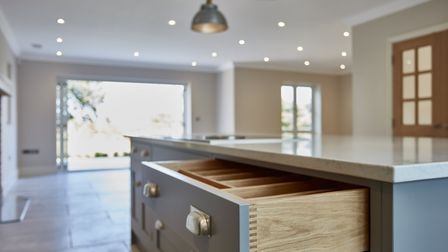 The beautiful joinery on display in the kitchen at Mallards. Pic: www.savills.co.uk