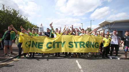 The Norwich fans take part in a march before the Sky Bet Championship match at Carrow Road, Norwich