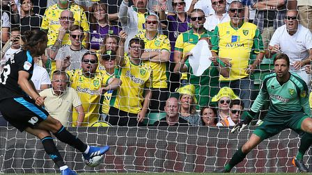 Jay Rodriguez struck twice in West Brom's 4-3 Championship win at Norwich City Picture: Paul Chester