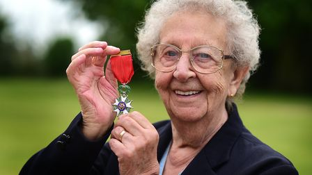 D-Day veteran Margaret Dickinson in 2015 with the Legion d'honneur which she was awarded. Picture: