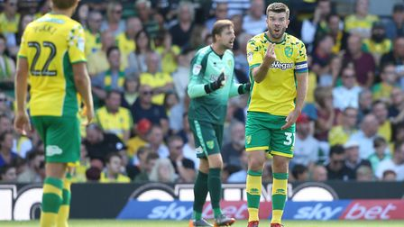 Grant Hanley has a word following West Brom's third goal at Carrow Road Picture: Paul Chesterton/Foc