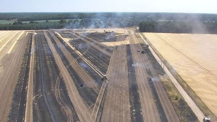 Drone footage of a field fire near the Norfolk/Suffolk border at Elveden. Picture: Suffolk Fire and