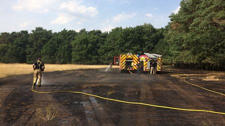 Suffolk Fire and Rescue attended the blaze, off Green Road in Brandon. Picture: Rebecca Murphy