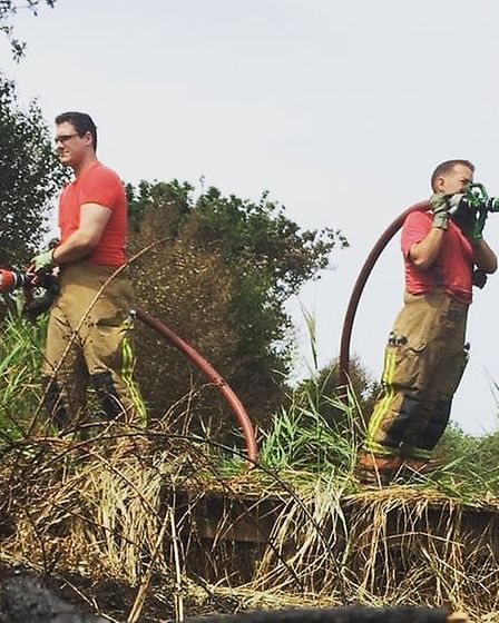 Fiefighters tackle a blaze in the Horsey areaPicture: Norfolk Fire and Rescue Service