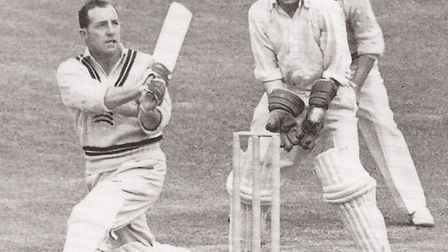 Bill Edrich in action, a fearless attacker of the short ball. Picture: from Bill Edrich: A Biography