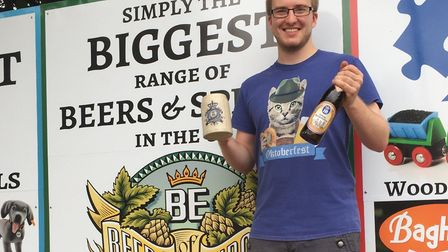 Matthew Keeley-Smith with the first Oktoberfest beers to arrive at Beers of Europe Picture: Beers of