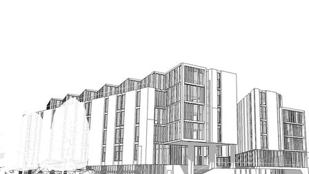 A sketch of what the development at the Barn Road car park could look like. Pic: Alumno Group.