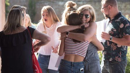 Langley School students picking up their GCSE results in 2017. Photo: Steve Adams