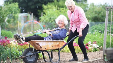 At the Northfields Allotments in Hunstanton are Linda Walton and (R) Angie Stray. Picture: Ian Burt