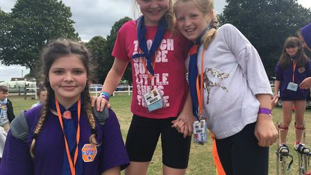 Members of 3rd Dereham and Elmham Guides at NORJAM 2018. (From left) Lauren Tyler, 13, Kathryn Mande