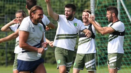 Grant Hanley leads the laughs during Norwich City's pre-season tour of Germany. Things gave got a li