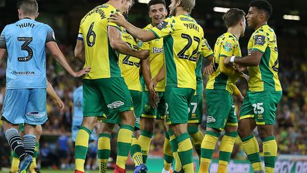 Christoph Zimmermann celebrates putting City back in front against Stevenage at Carrow Road Picture: