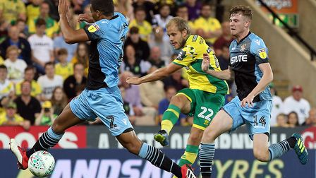 Influential substitute Teemu Pukki fires home City's third goal to seal victory over Stevenage Pictu