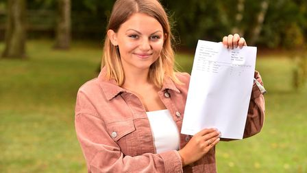 Sir John Leman High School student Charlie Haynes with her A Level results.Picture: Nick Butcher