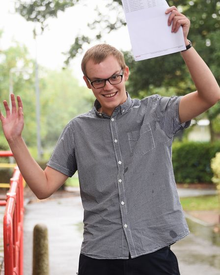 Marc Mills celebrates an A* and two A grades in his A-Levels at the Thorpe St Andrew High School. P