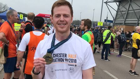 Mark Armstrong after the last time he set a personal best the Colchester Half Marathon. Picture: Mar