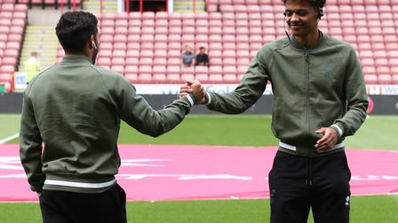 Emiliano Buendia and Jamal Lewis of Norwich before the Sky Bet Championship match at Bramall Lane, S