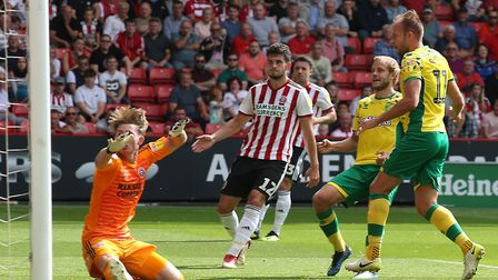 Jordan Rhodes equalised midway through the first half at Bramall Lane for City Picture: Paul Chester