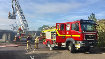 Firefighters tackle the blaze at the former Pontins site in Hemsby.
