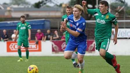 Lowestoft player Kieran Higgs in action during the battling home win over Hitchin Town Picture: Shir