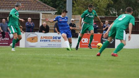 Ben Fowkes in action against Hitchin Picture: Shirley D Whitlow