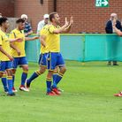 Norwich United celebrate during their 4-1 win over Woodbridge Town Picture: RICHARD SCOTT