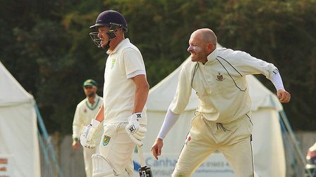 Norfolk skipper Chris Brown on his way to a five wicket haul for Horsford against Great Witchingham