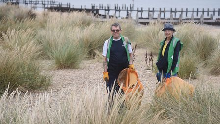 Volunteers collecting rubbish and litter from the North Denes dunes and beach at Lowestoft as part o