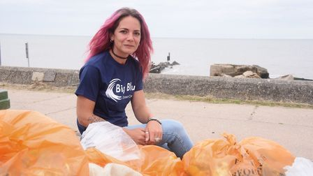 Samantha Edmonds from the Big Blue Ocean Clean Up with some of the rubbish and litter she and volunt