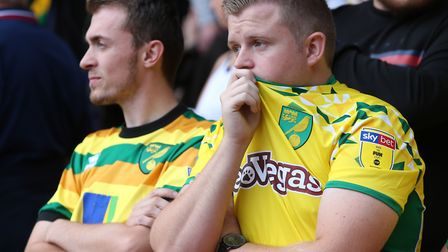 Defeat was hard to take for the traveling Norwich City fans at Sheffield United. Picture: Paul Chest