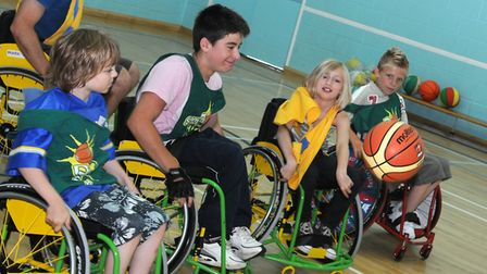 SuperSports Kidz Club play wheelchair basketball at thye Recreation Road Sports Centre in 2008. Pict