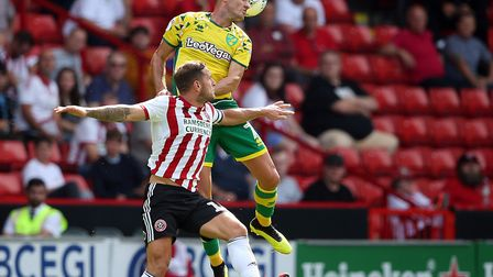 Ben Marshall of Norwich in action during the Sky Bet Championship match at Bramall Lane, SheffieldPi