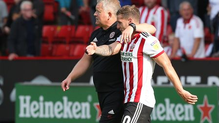 Sheffield United Manager Chris Wilder and match winner Billy Sharp of Sheffield United at the end o