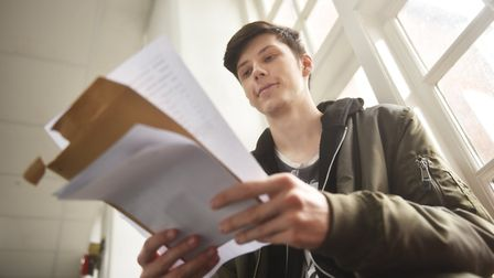 A-Level results day at King Edward VII Academy in King's Lynn. Mason Garrod.Picture: ANTONY KELLY