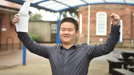 A-Level results day at King Edward VII Academy in King's Lynn. Ruiheng Wang.Picture: ANTONY KELLY