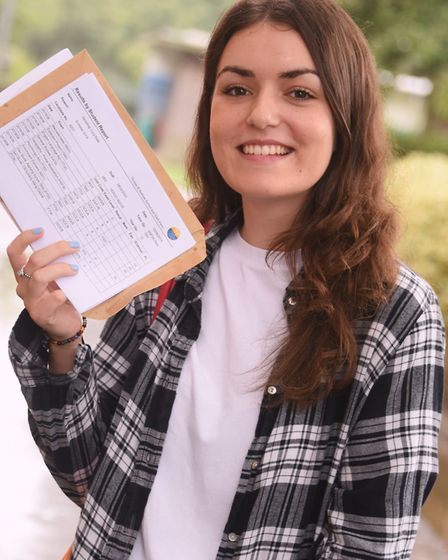 Lucy Spratling, 18, collects her A-Level results at the Thorpe St Andrew High School before she head