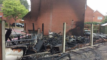 The aftermath of the caravan fire at Lingwood. Photo: John Alison.