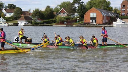 The team from Norwich retail business Jarrold taking part in the 2018 East Anglian Dragon Boat Festi