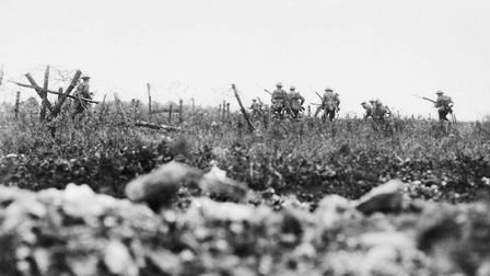 Arthur Whinney served with the Wiltshire Regiment. Men of the regiment pictured attacking near Thiep