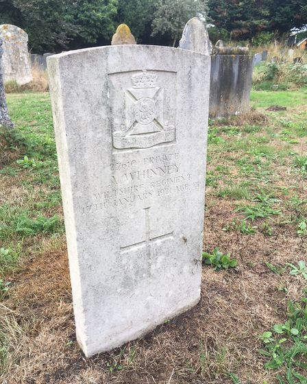 The grave of Arthur Whinney, who died three years after the war, in Tasburgh churchyard. Picture: Si