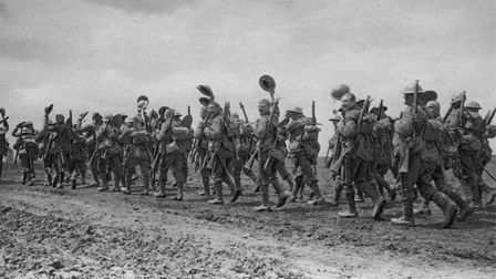 Men of the Wiltshire Regiment marching to the front. Arthur Whinney was captured at Messines on the