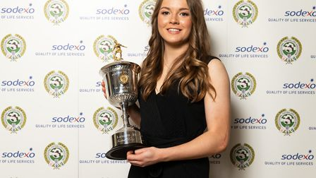 Lauren Hemp- here with the PFA Young Female Player Of The Year Award Trophy - helped England to the