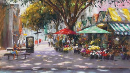 The Norfolk Day pastel creation of Norwich Market called Capturing the Moment, by John Patchett. Pic