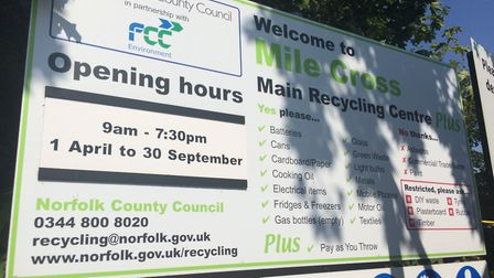 Mile Cross Recycling Centre. PHOTO: Sophie Smith