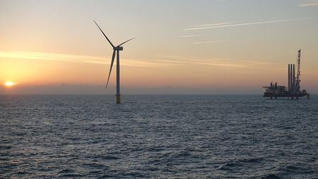 The sun rises as turbine towers are installed on the Galloper offshore wind farm. Picture: Innogy