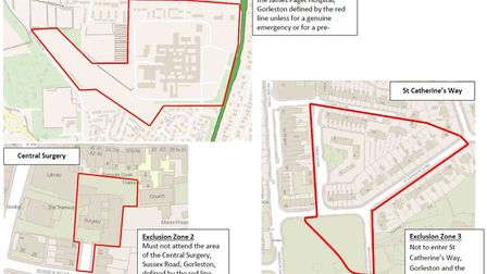 The exclusion zones where Bruce Kirrage has been ordered not to enter. Picture: Norfolk Constabulary