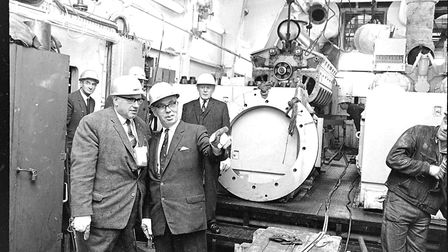 Former North Norfolk MP Bert Hazell visits Bacton gas terminal after it began operations in 1968. Pi