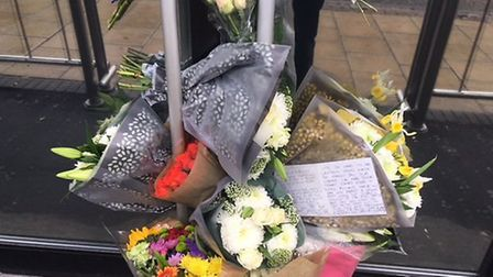 Floral tributes left outside Bished nightclub on Prince of Wales Road. PIC: Peter Walsh.