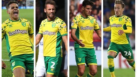 From left, Max Aarons, Ivo Pinto, Ben Marshall and Felix Passlack are competing for Norwich City's r